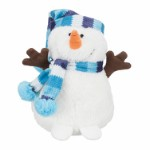 Xmas Snowman with bobble cap, plush, 17